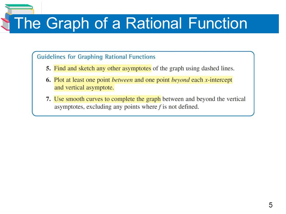 6 Example 2 – Sketching the Graph of a Rational Function Sketch the graph of by hand.