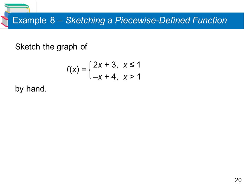 20 Example 8 – Sketching a Piecewise-Defined Function Sketch the graph of 2x + 3, x ≤ 1 –x + 4, x > 1 by hand. f (x) =