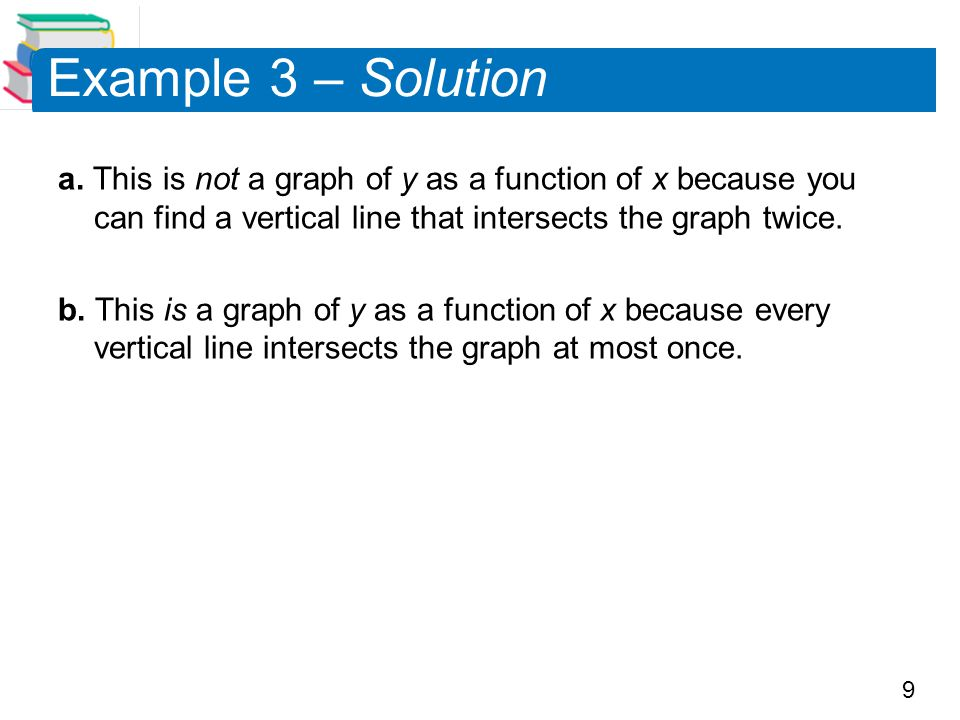 9 Example 3 – Solution a. This is not a graph of y as a function of x because you can find a vertical line that intersects the graph twice. b. This is