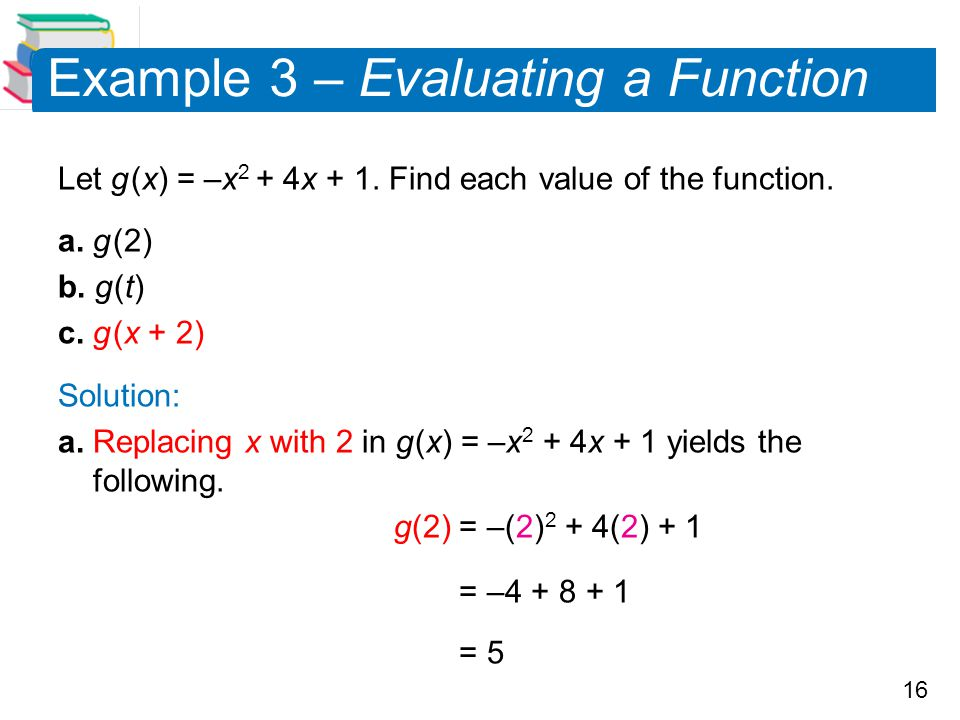 16 Example 3 – Evaluating a Function Let g (x) = –x 2 + 4x + 1. Find each value of the function. a. g (2) b. g (t) c. g (x + 2) Solution: a. Replacing