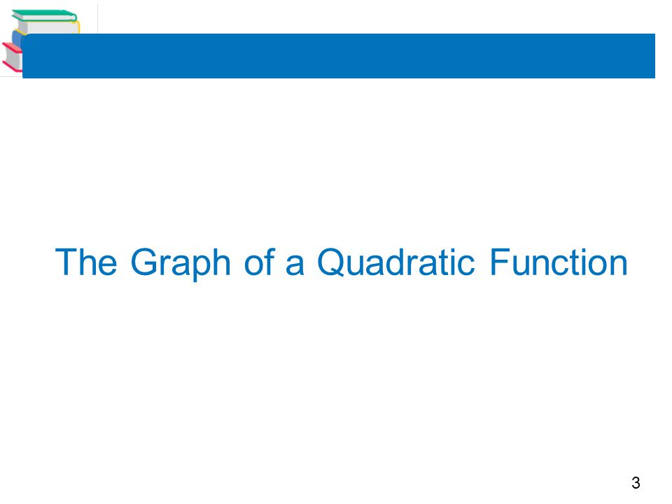 14 The Standard Form of a Quadratic Function The equation in Example 1(b) is written in the standard form or graphing form f (x) = a (x – h) 2 + k.
