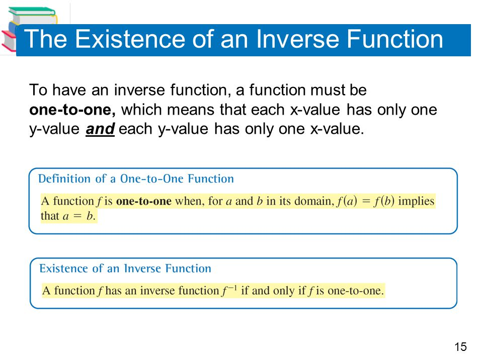 15 The Existence of an Inverse Function To have an inverse function, a function must be one-to-one, which means that each x-value has only one y-value