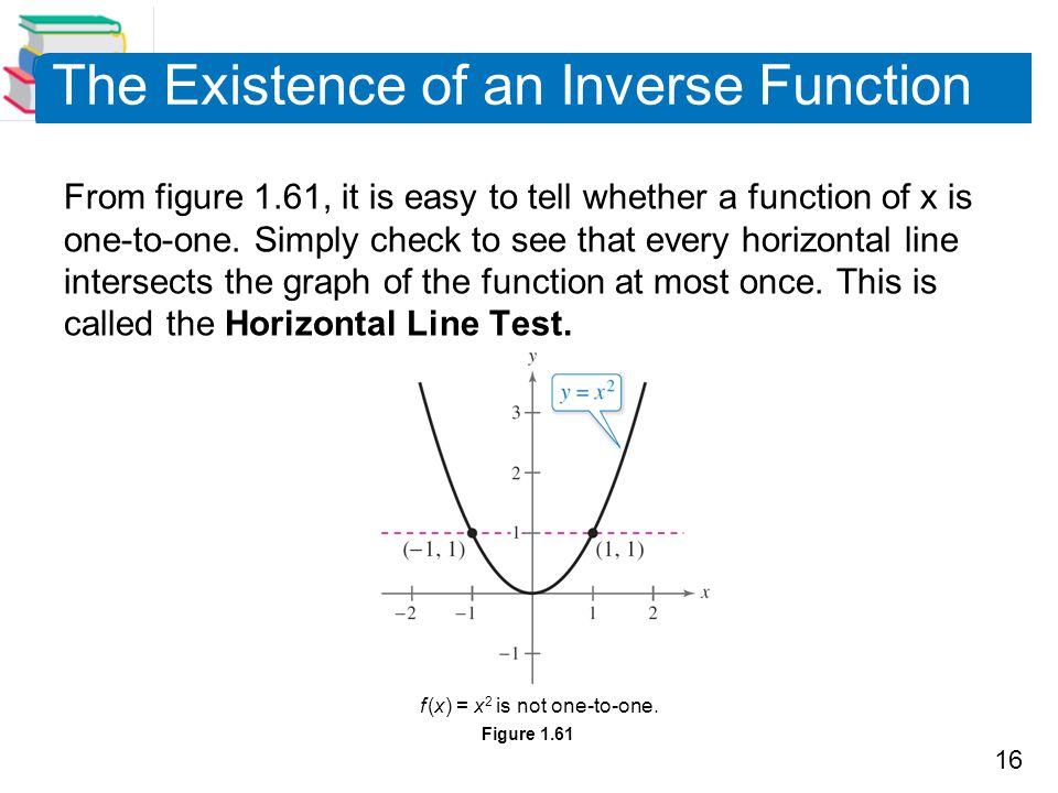16 The Existence of an Inverse Function From figure 1.61, it is easy to tell whether a function of x is one-to-one. Simply check to see that every hor