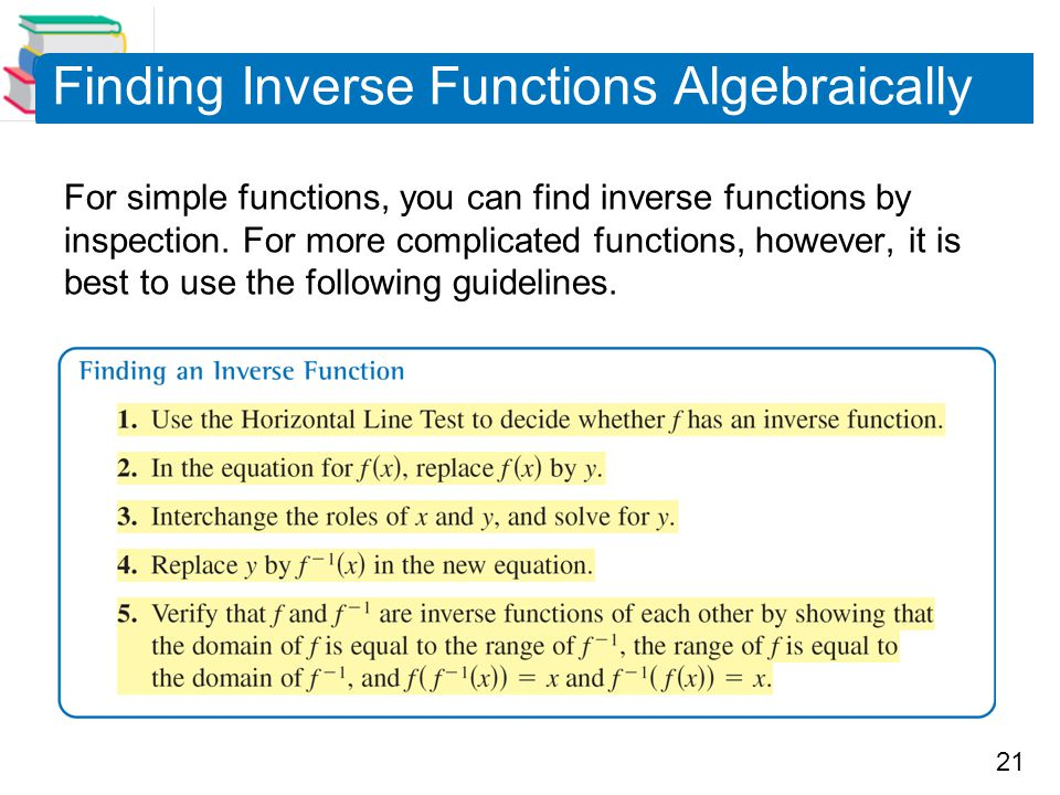21 Finding Inverse Functions Algebraically For simple functions, you can find inverse functions by inspection. For more complicated functions, however