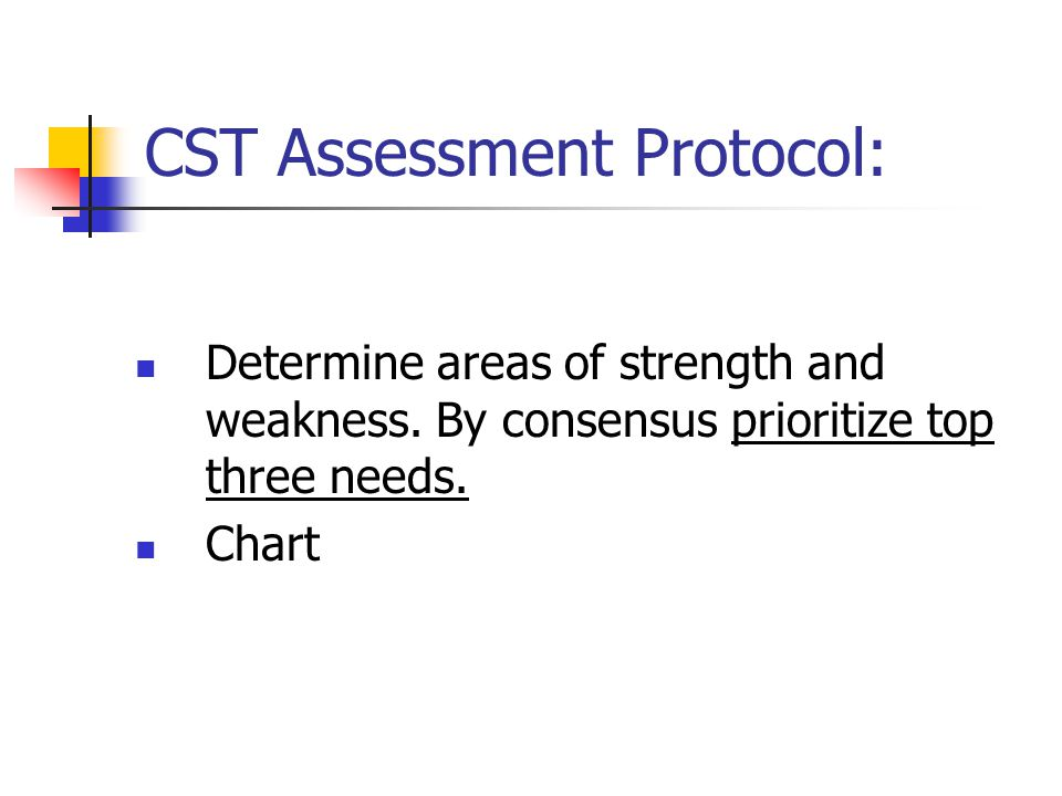 CST Assessment Protocol: Determine areas of strength and weakness.