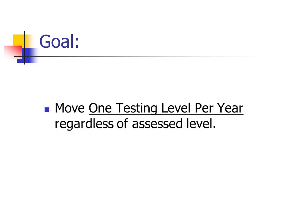 Goal: Move One Testing Level Per Year regardless of assessed level.