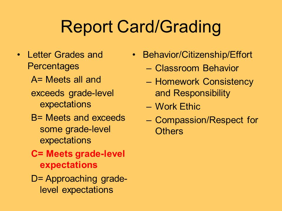 Report Card/Grading Letter Grades and Percentages A= Meets all and exceeds grade-level expectations B= Meets and exceeds some grade-level expectations