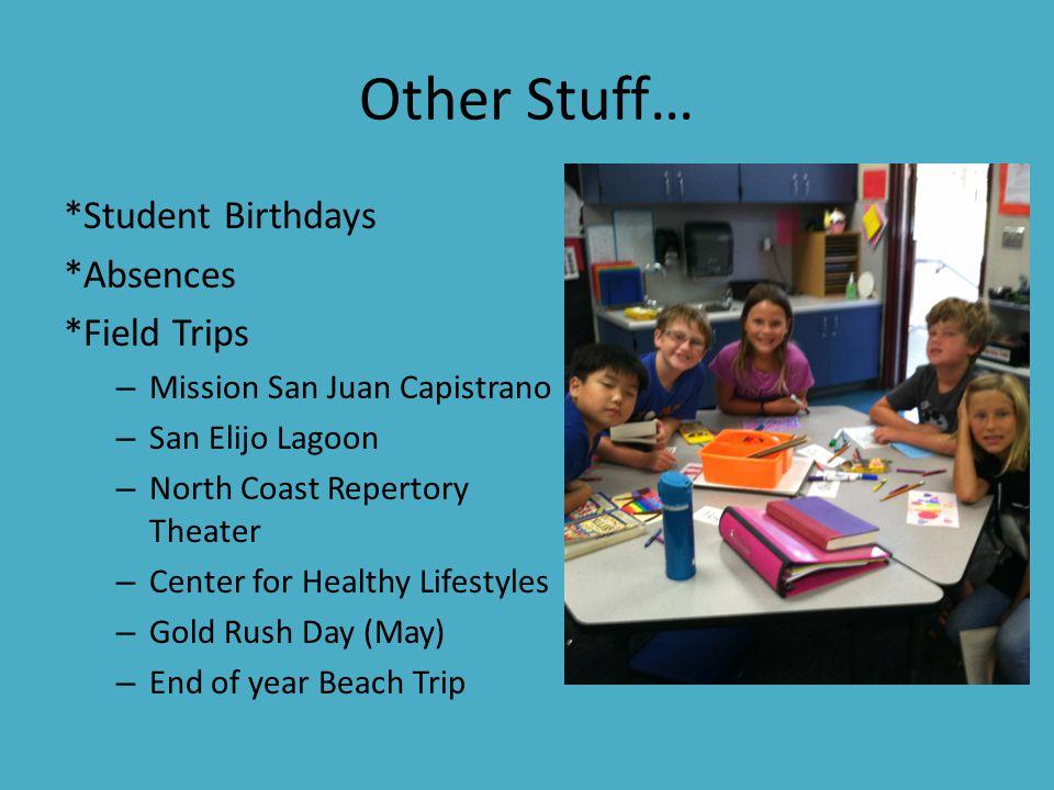 Other Stuff… *Student Birthdays *Absences *Field Trips – Mission San Juan Capistrano – San Elijo Lagoon – North Coast Repertory Theater – Center for H