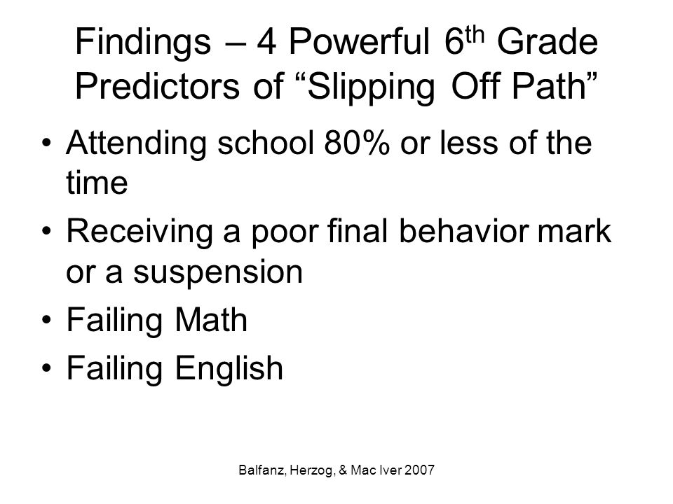 """Balfanz, Herzog, & Mac Iver 2007 Findings – 4 Powerful 6 th Grade Predictors of """"Slipping Off Path"""" Attending school 80% or less of the time Receiving"""