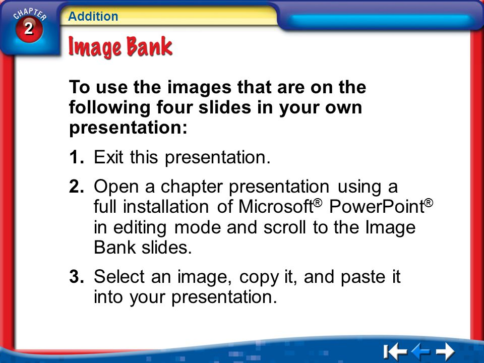 2 2 Addition IB Instructions To use the images that are on the following four slides in your own presentation: 1.Exit this presentation.