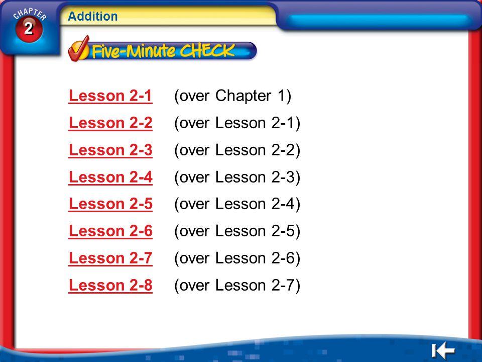 2 2 Addition 2 2 5Min Menu Lesson 2-1Lesson 2-1(over Chapter 1) Lesson 2-2Lesson 2-2(over Lesson 2-1) Lesson 2-3Lesson 2-3(over Lesson 2-2) Lesson 2-4