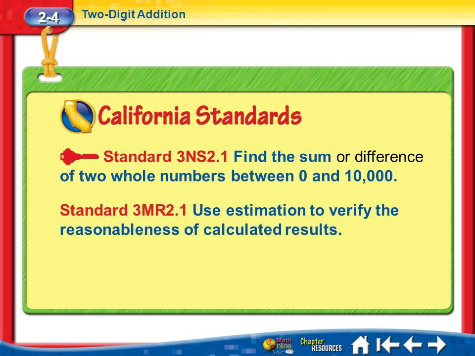 2-4 Two-Digit Addition Lesson 4 Standard 1 Standard 3NS2.1 Find the sum or difference of two whole numbers between 0 and 10,000.
