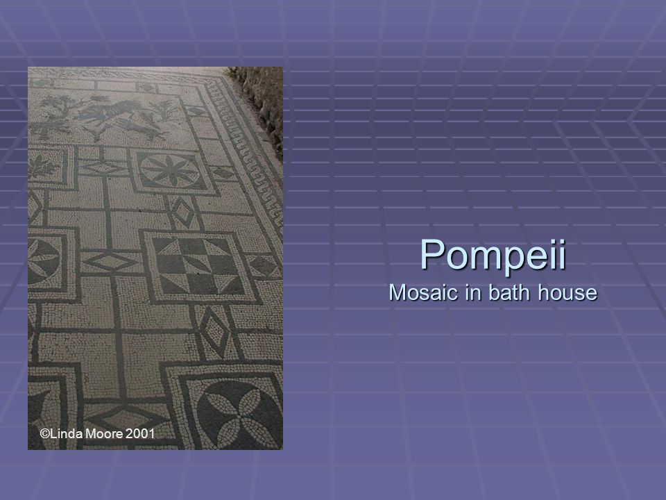 Pompeii Mosaic in bath house ©Linda Moore 2001