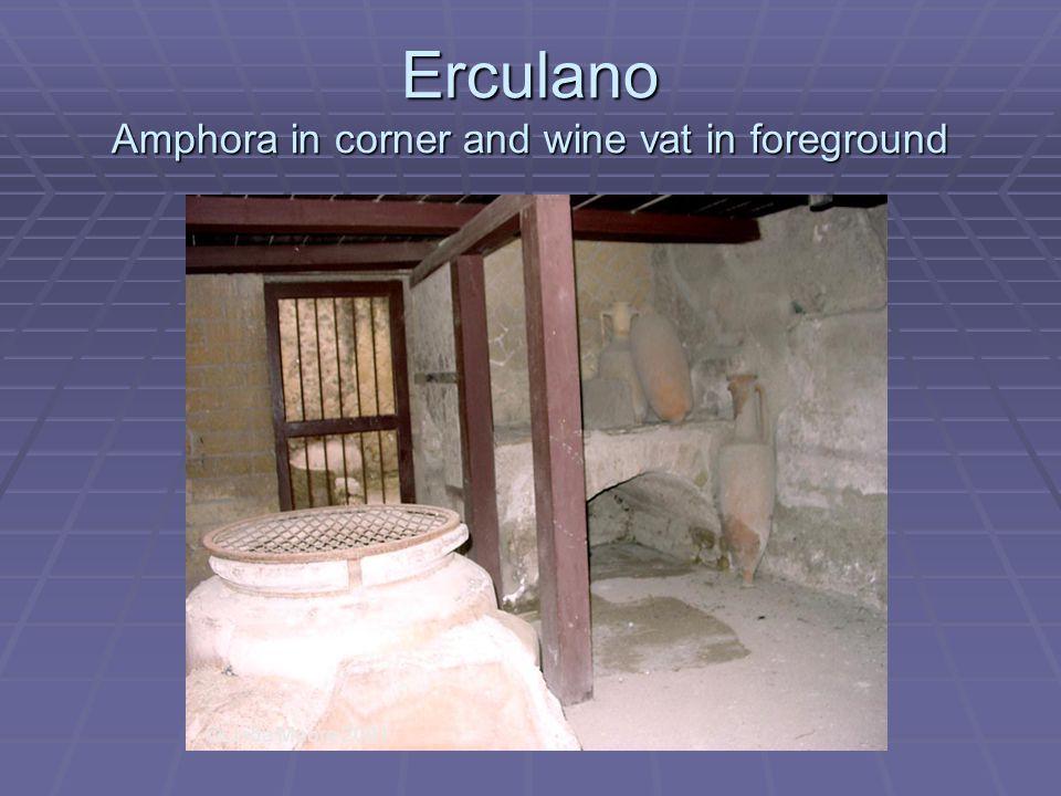 Erculano Amphora in corner and wine vat in foreground ©Linda Moore 2001