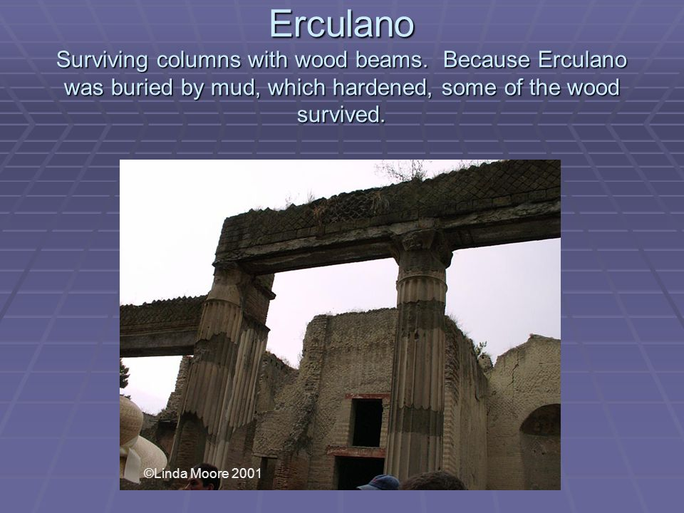 Erculano Surviving columns with wood beams.