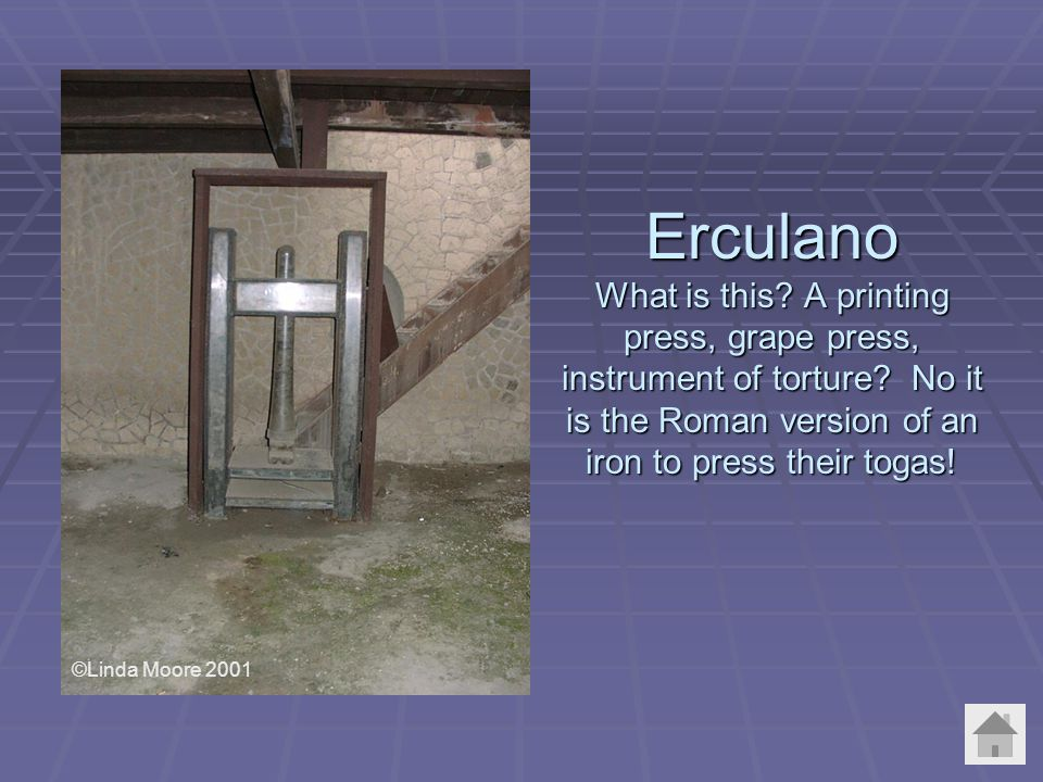 Erculano What is this. A printing press, grape press, instrument of torture.
