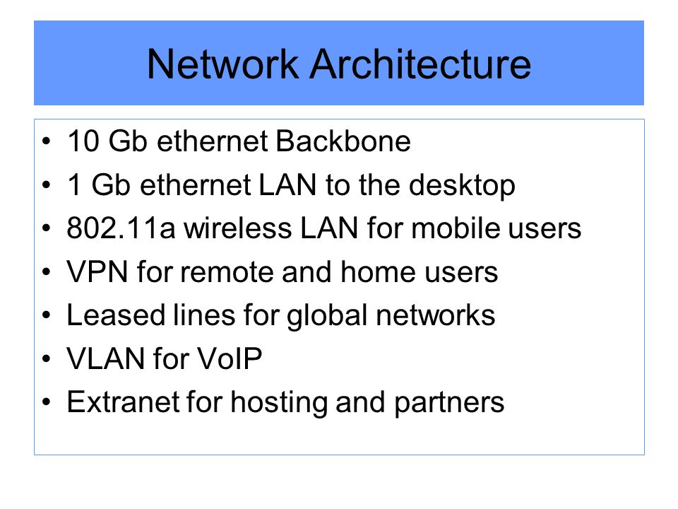 Network Architecture 10 Gb ethernet Backbone 1 Gb ethernet LAN to the desktop 802.11a wireless LAN for mobile users VPN for remote and home users Leased lines for global networks VLAN for VoIP Extranet for hosting and partners
