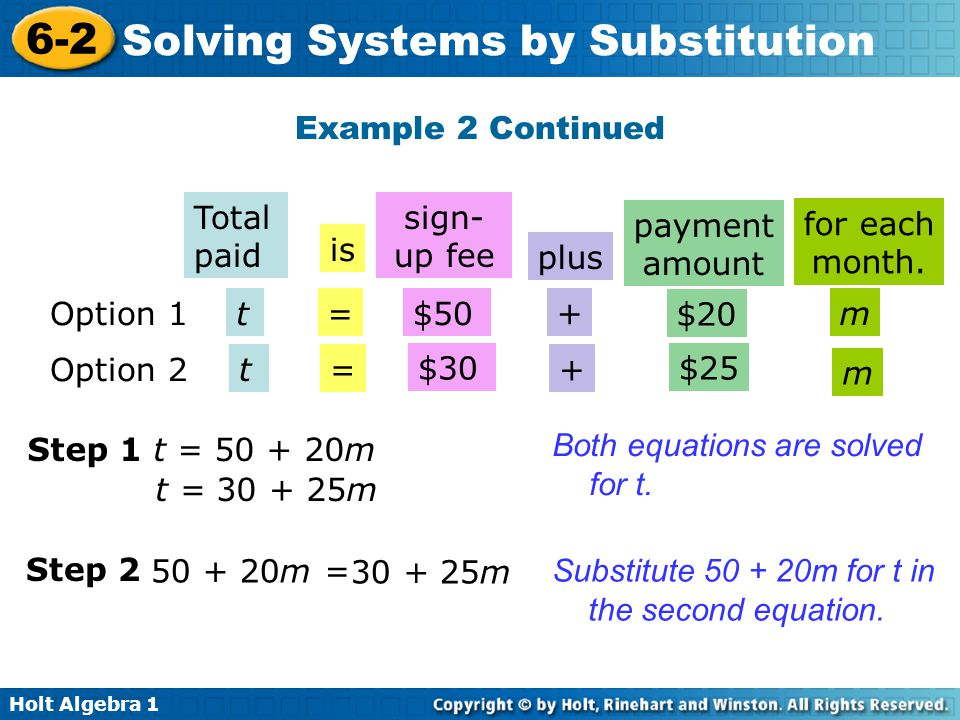 Holt Algebra 1 6-2 Solving Systems by Substitution Example 2 Continued Total paid is sign- up fee plus payment amount for each month. Option 1t=$50 +