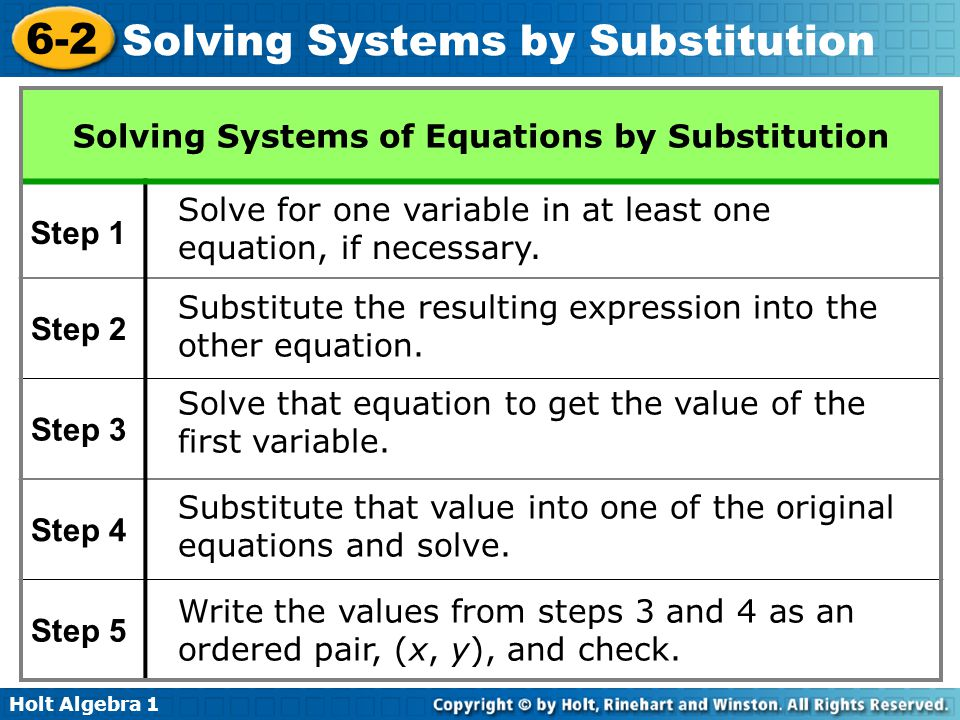 Holt Algebra 1 6-2 Solving Systems by Substitution Step 4 –2x + y = 8 Substitute –1 for x.