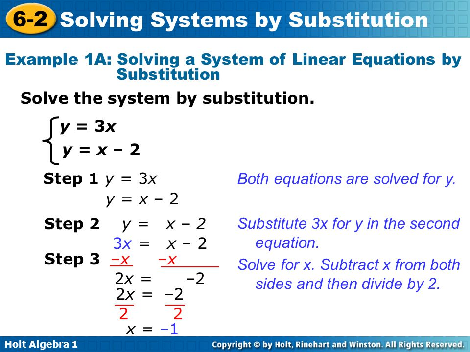 Holt Algebra 1 6-2 Solving Systems by Substitution Solve the system by substitution.