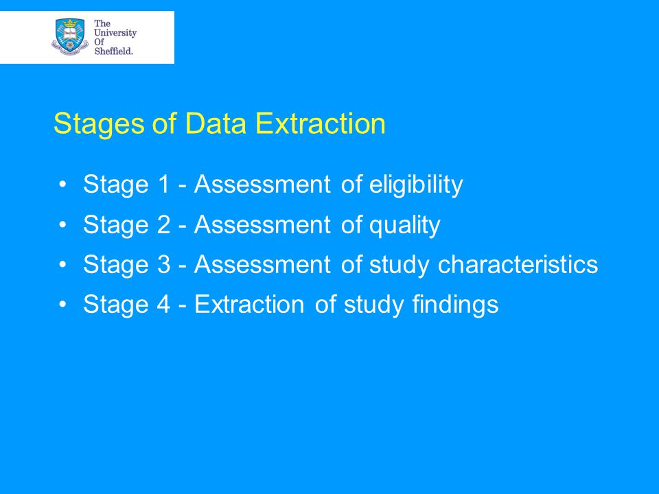 Assessment of eligibility Most articles identified by the literature searches will have been eliminated in the sifting process at the title or abstract stage Data extraction and sifting overlap if data extraction is used as a means of documenting why studies which were excluded at a full reading were excluded