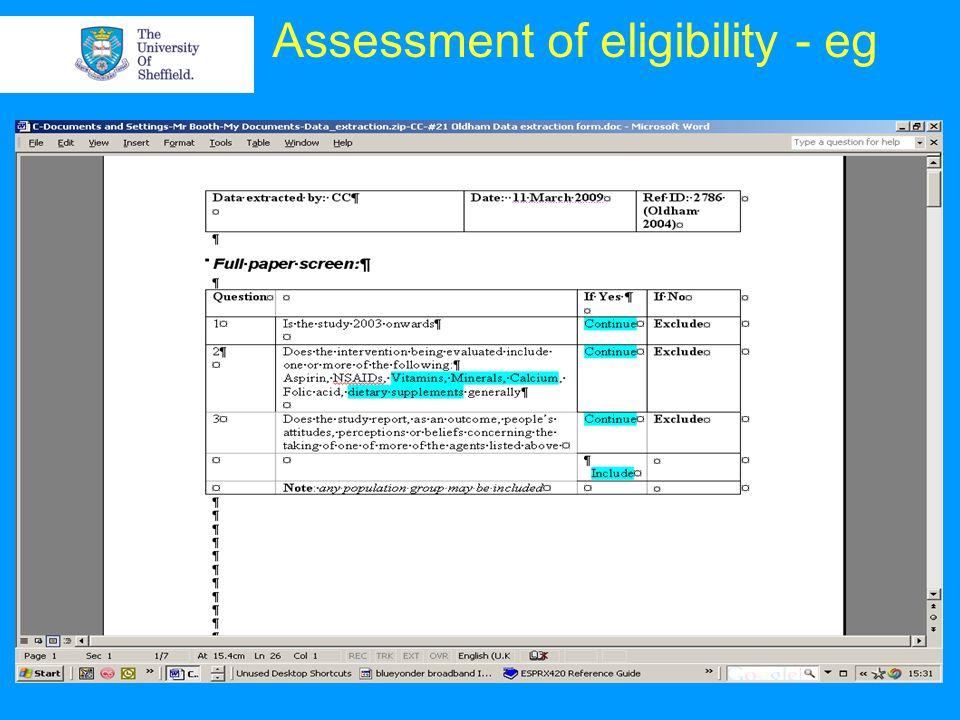 Assessment of eligibility - eg