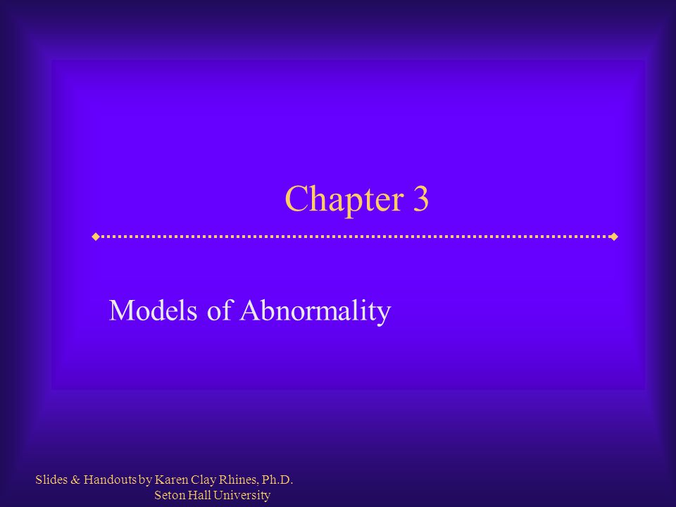 Slide 2 Models of Abnormality  What is a model or paradigm.