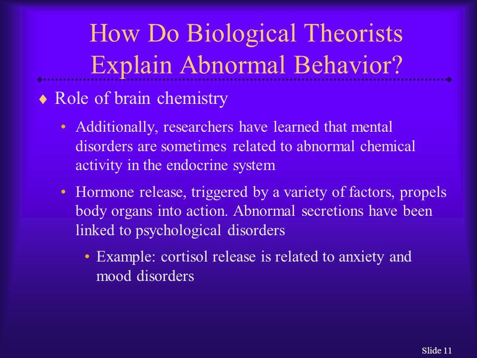 Slide 12 How Do Biological Theorists Explain Abnormal Behavior.