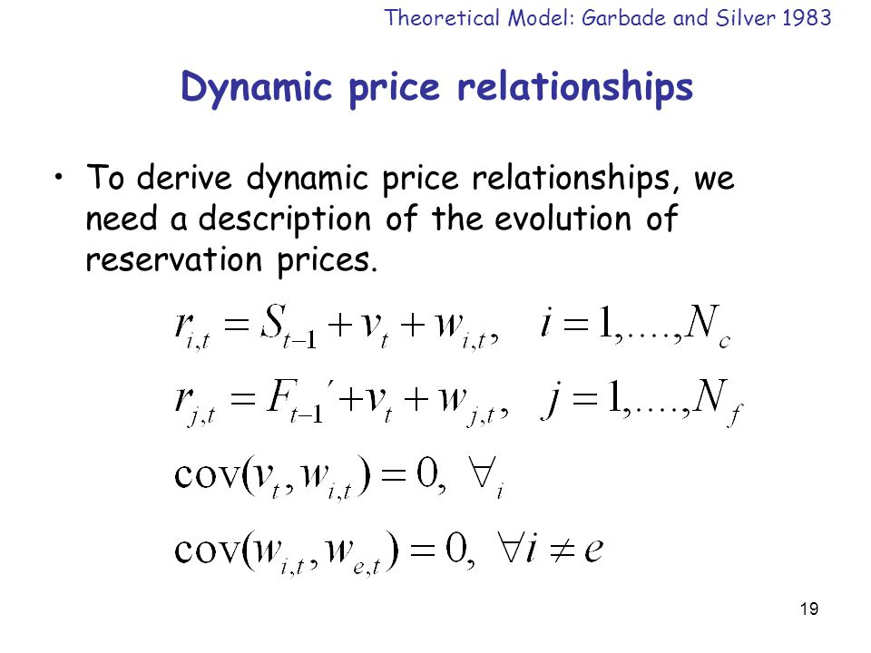 19 Dynamic price relationships To derive dynamic price relationships, we need a description of the evolution of reservation prices.