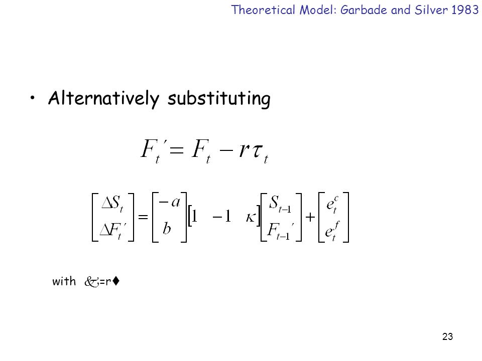 23 Alternatively substituting Theoretical Model: Garbade and Silver 1983 with k =r t