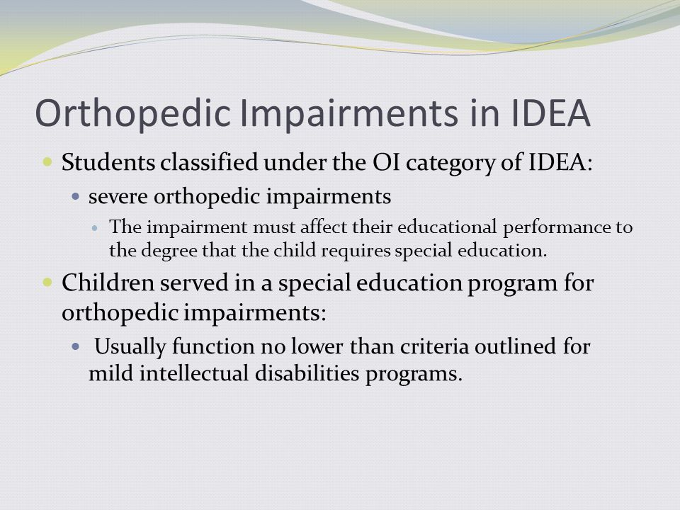 3.What is NOT a birth defect that results in orthopedic impairments.