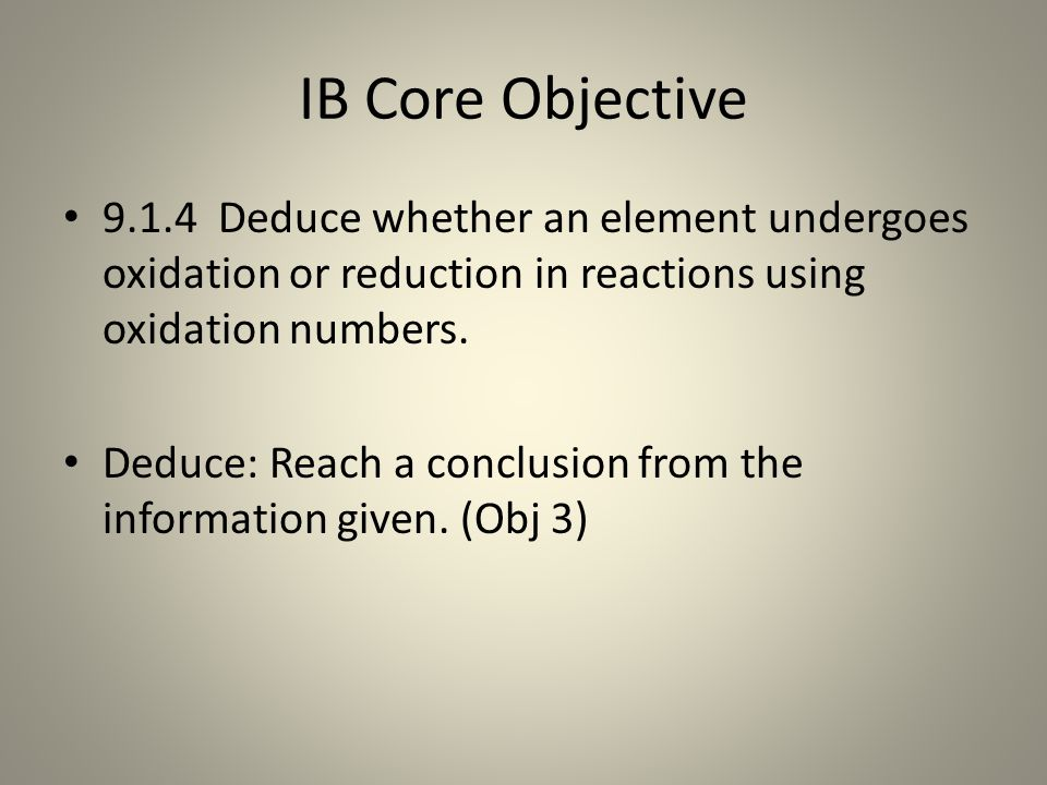 IB Core Objective 9.1.4 Deduce whether an element undergoes oxidation or reduction in reactions using oxidation numbers.