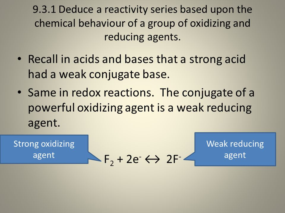9.3.1 Deduce a reactivity series based upon the chemical behaviour of a group of oxidizing and reducing agents.