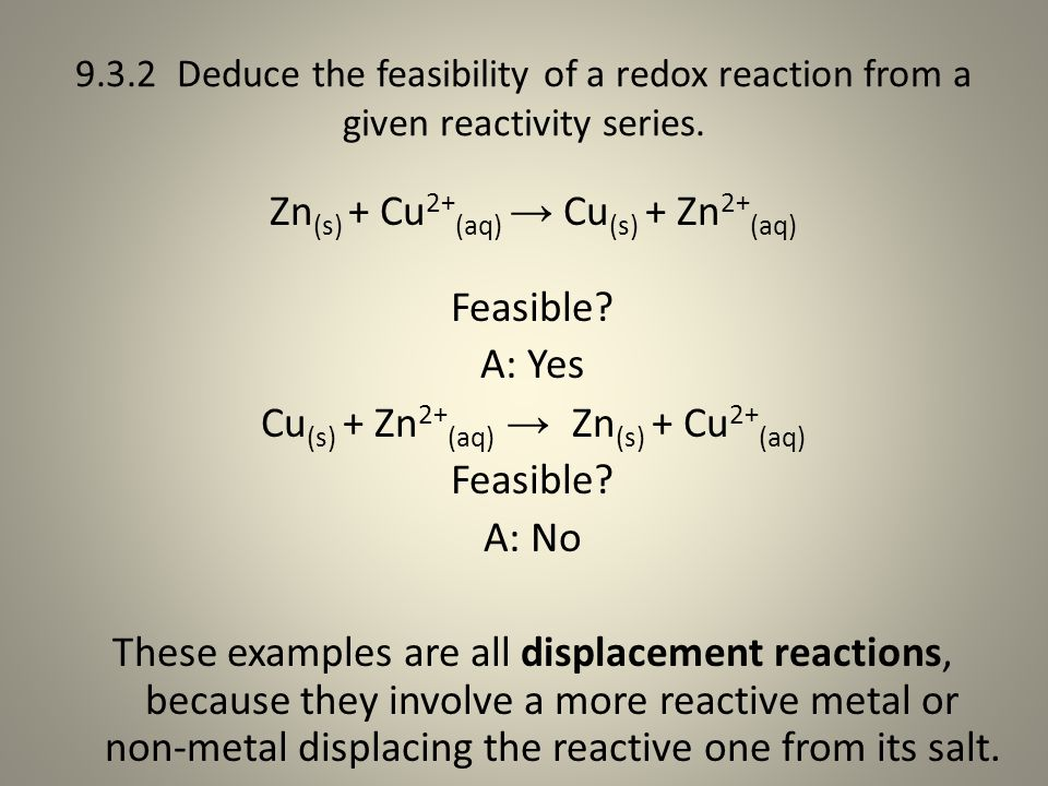 9.3.2 Deduce the feasibility of a redox reaction from a given reactivity series.
