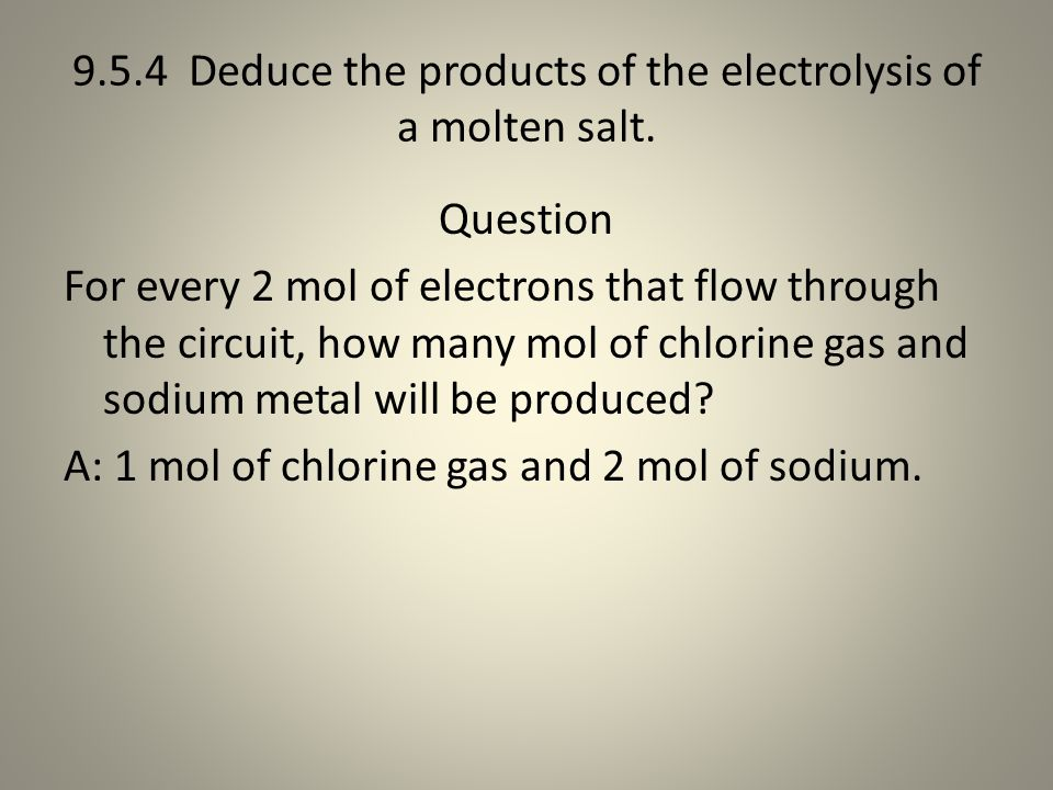 9.5.4 Deduce the products of the electrolysis of a molten salt.