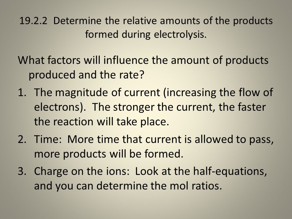 19.2.2 Determine the relative amounts of the products formed during electrolysis.