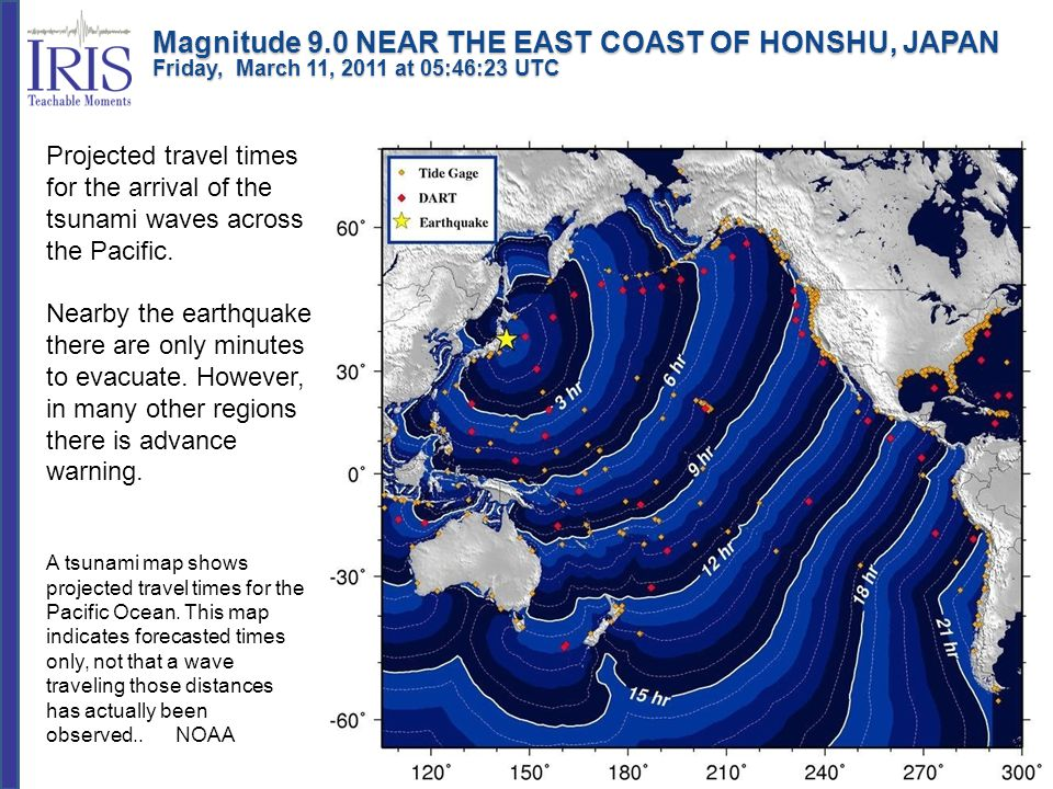 Projected travel times for the arrival of the tsunami waves across the Pacific.