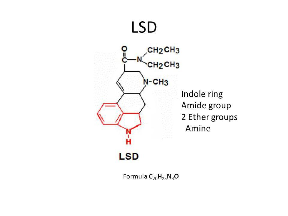 LSD Formula C 20 H 25 N 3 O -Indole ring -Amide group -2 Ether groups - Amine