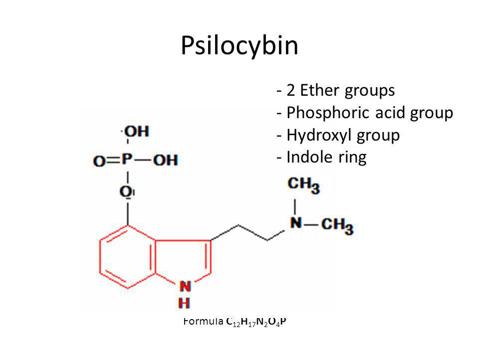 Psilocybin Formula C 12 H 17 N 2 O 4 P - 2 Ether groups - Phosphoric acid group - Hydroxyl group - Indole ring