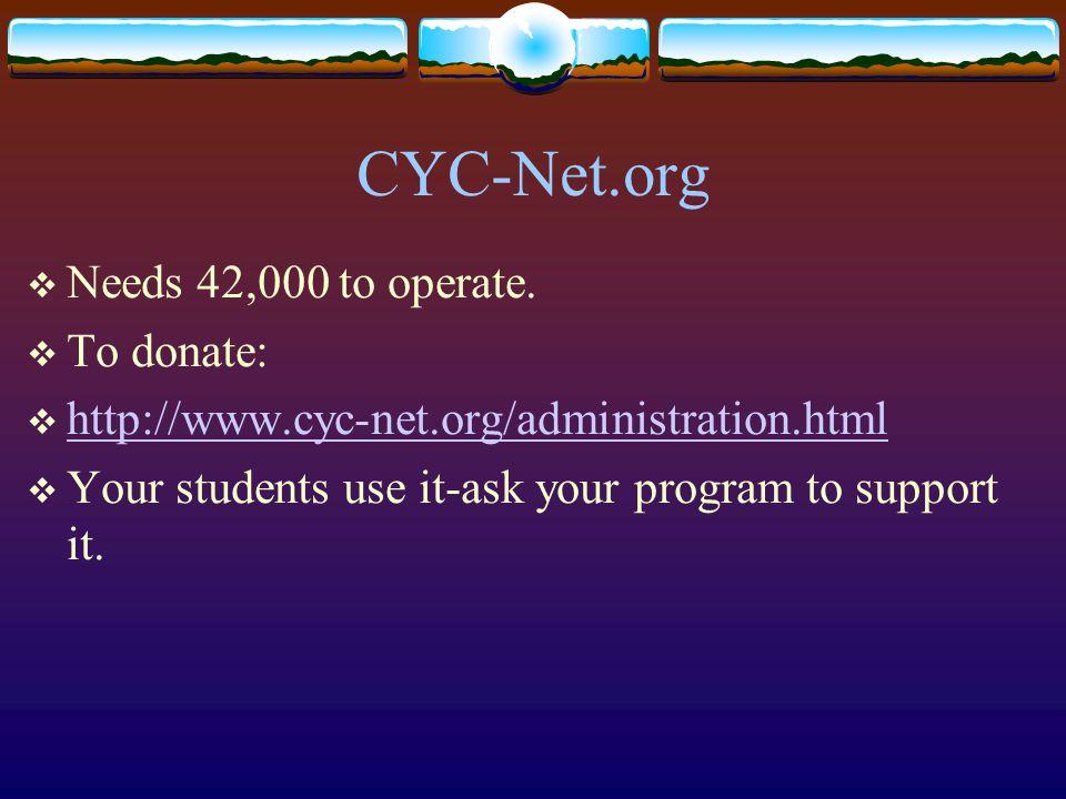 CYC-Net.org  Needs 42,000 to operate.