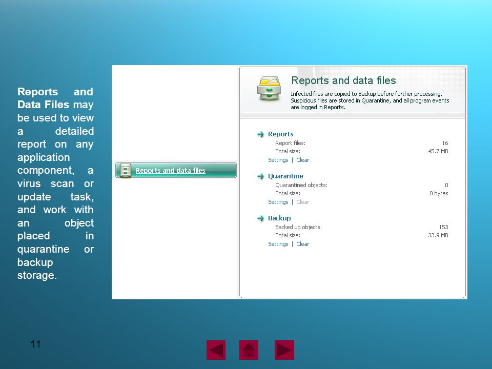11 Reports and Data Files may be used to view a detailed report on any application component, a virus scan or update task, and work with an object pla