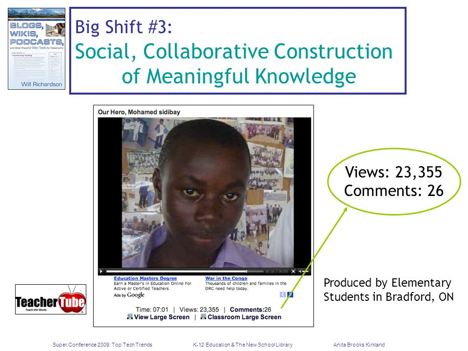 Super Conference 2009: Top Tech TrendsK-12 Education & The New School LibraryAnita Brooks Kirkland Big Shift #3: Social, Collaborative Construction of Meaningful Knowledge Views: 23,355 Comments: 26 Produced by Elementary Students in Bradford, ON