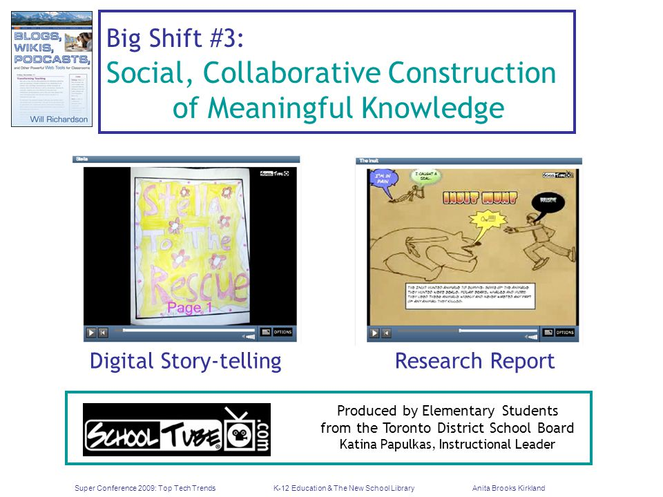 Super Conference 2009: Top Tech TrendsK-12 Education & The New School LibraryAnita Brooks Kirkland Big Shift #3: Social, Collaborative Construction of Meaningful Knowledge Digital Story-tellingResearch Report Produced by Elementary Students from the Toronto District School Board Katina Papulkas, Instructional Leader