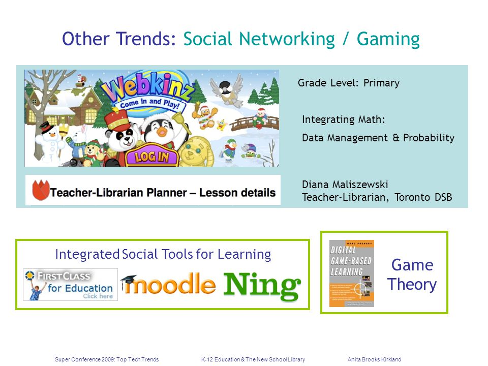 Super Conference 2009: Top Tech TrendsK-12 Education & The New School LibraryAnita Brooks Kirkland Other Trends: Social Networking / Gaming Grade Level: Primary Integrating Math: Data Management & Probability Diana Maliszewski Teacher-Librarian, Toronto DSB Integrated Social Tools for Learning Game Theory