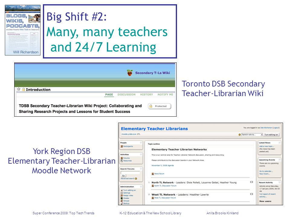 Super Conference 2009: Top Tech TrendsK-12 Education & The New School LibraryAnita Brooks Kirkland Big Shift #2: Many, many teachers and 24/7 Learning Toronto DSB Secondary Teacher-Librarian Wiki York Region DSB Elementary Teacher-Librarian Moodle Network