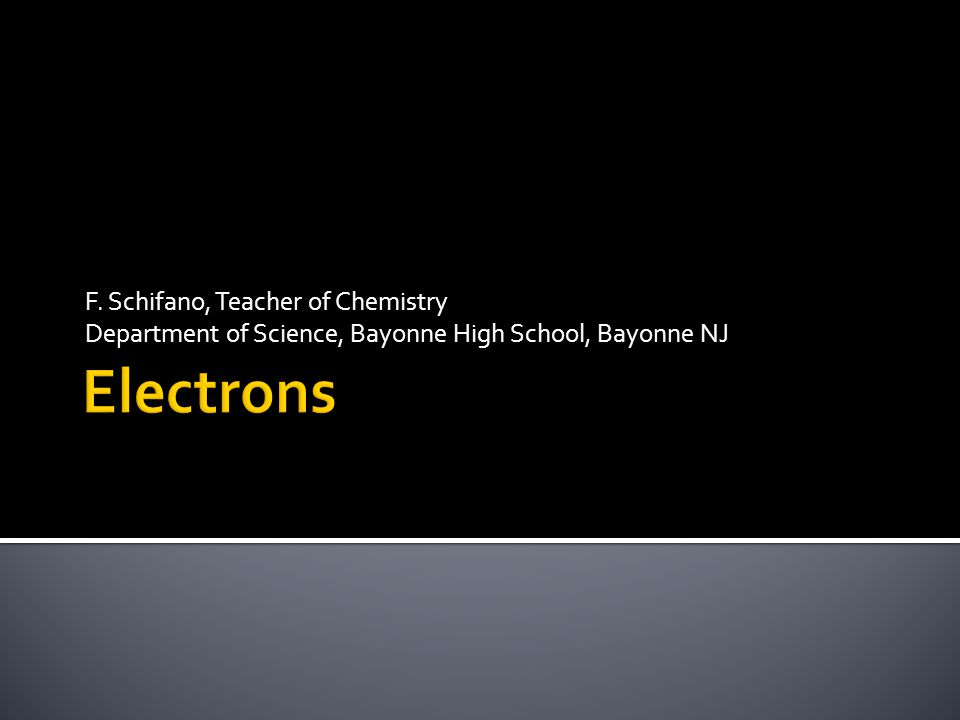 F. Schifano, Teacher of Chemistry Department of Science, Bayonne High School, Bayonne NJ
