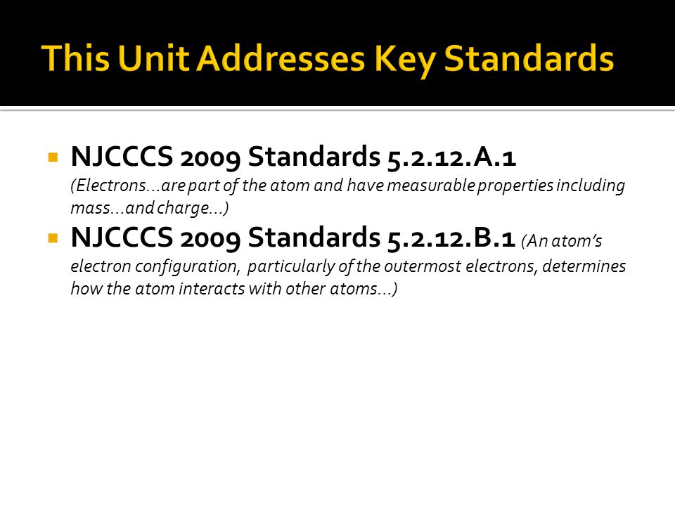  NJCCCS 2009 Standards 5.2.12.A.1 (Electrons…are part of the atom and have measurable properties including mass…and charge…)  NJCCCS 2009 Standards
