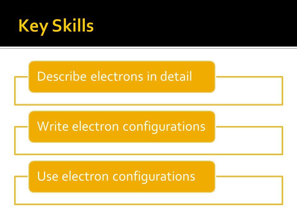 Describe electrons in detailWrite electron configurationsUse electron configurations