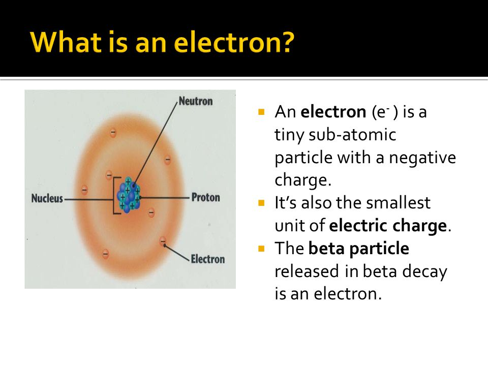  An electron (e - ) is a tiny sub-atomic particle with a negative charge.  It's also the smallest unit of electric charge.  The beta particle relea