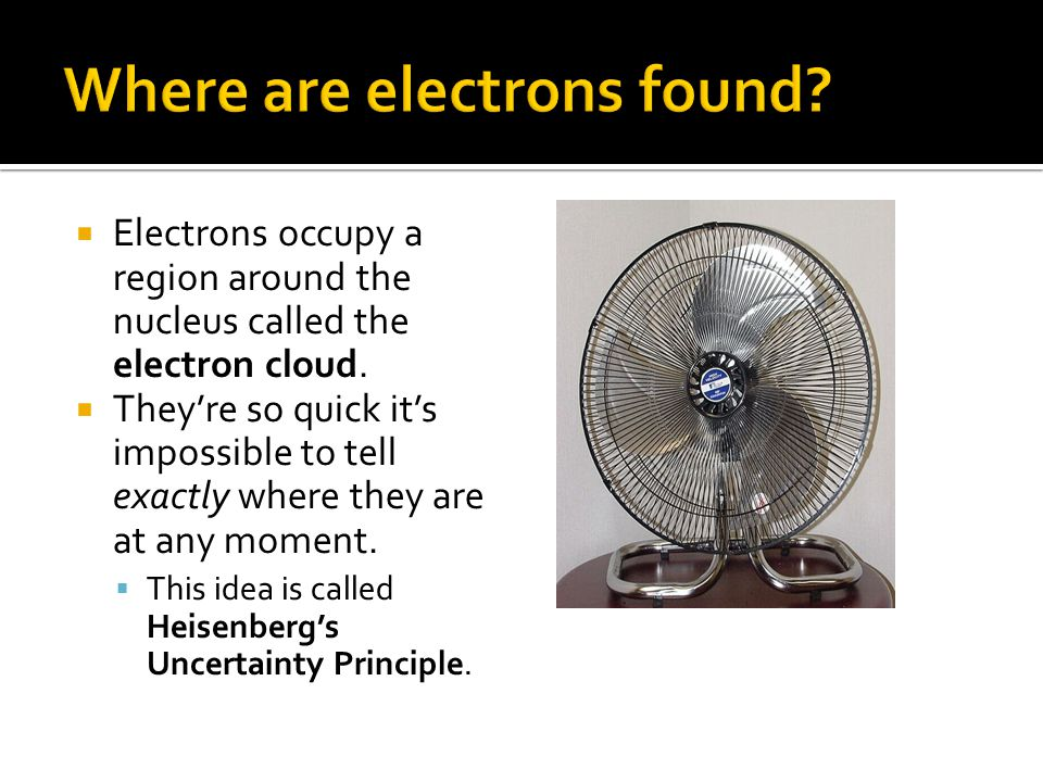  Electrons occupy a region around the nucleus called the electron cloud.